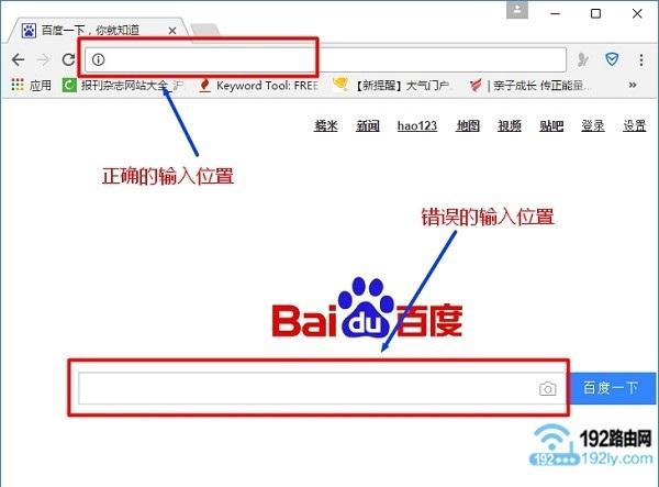 瀏覽器中正確輸入網址的地方